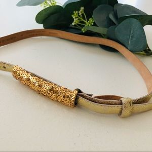 W by Worth Gold Sequin Crackle Skinny Belt